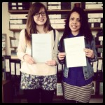 Handing in our dissertations in the American Studies office