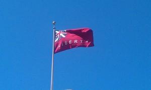 A slightly odd Union Jack flag outside San Francisco's Town Hall