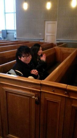 Naughty daughters banished to pray and think about their auctions in a segregated pew! ;)