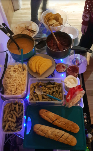 A photo of the food we all took for the evening.