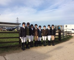 A photo of the A and B team riders before Varsity started!