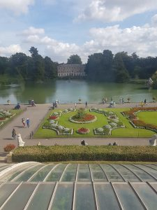 A photo of the view from the palm house
