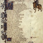 The first page of 'Knight's Tale' in the Ellesmere manuscript, courtesy of Wikipedia!