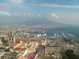 The view of Naples and Vesuvius from Castel Sant'Elmo.