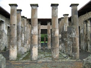 A roofless building at Pompei.