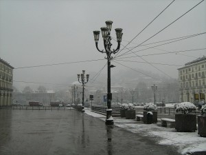 Piazza Vittorio Veneto in the snow, Turin.