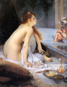 "One way the East was defined was as a place of sensuality and excess, which can be seen in the West's fascination with the Harem's. This is a Harem depiction from 1888, ""L'Esclave Blanche"" by Nouy."
