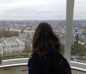 Contemplating the view from the London Eye