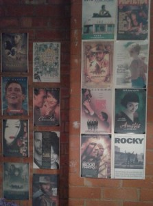 A segment of the wall with some of the film posters