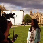 Being interviewed on College Green at Westminster (image from @Science_Council)