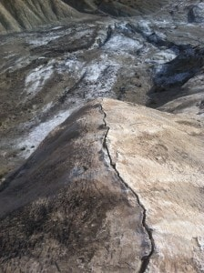 Fault line in Almeria - the white stuff on the ground behind is salt!