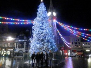 Geographers by the Leicester clocktower at Christmas