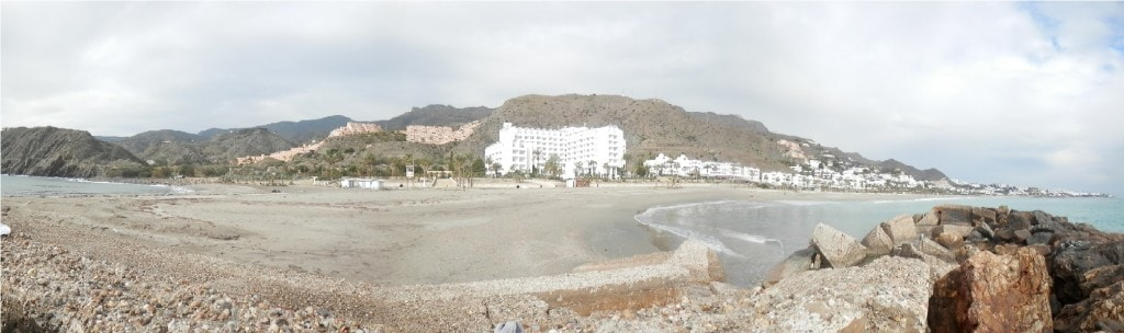 Panorama of the coastline, with our hotel the large white building in the centre