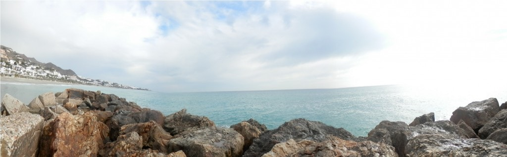 Panorama of the horizon, from the beach, on the last day