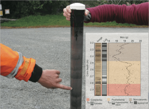 A lacustrine sediment core taken from the field http://www.lakescientist.com/wp-content/uploads/2014/10/lake-paringa-sediment-core.png