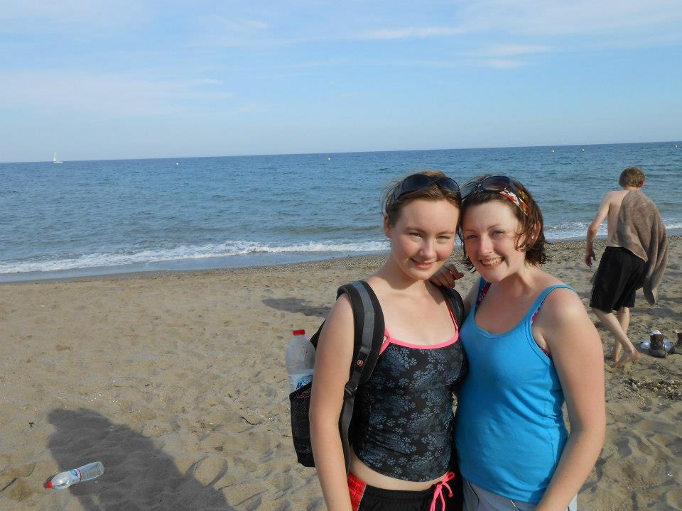 Me and a course mate on a beach in Spain during the field trip there in second year.