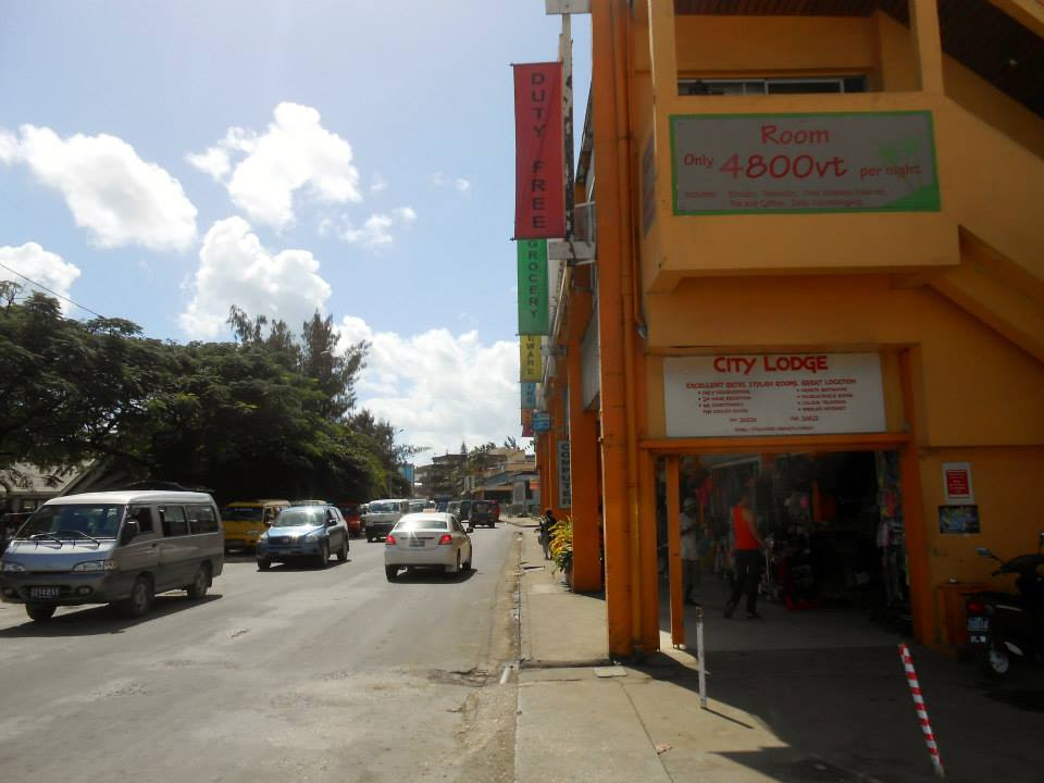 The main street in Port Vila as it should look with its colourful buildings