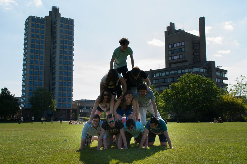 Our successful human pyramid caught in the few seconds it managed to stay up!