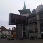 When I was handing out flyers around Leicester's Big Screen there was a thing that people could stand in front of it and would appear on the screen with a funny face. It was pretty fun!