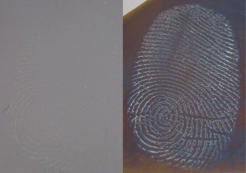 An example of a fingerprint before (left) and after (right) polymer deposition