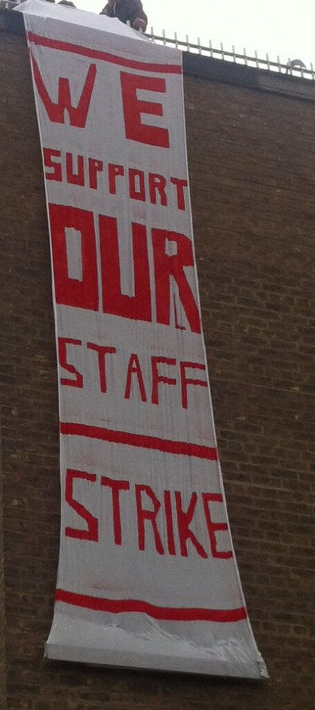 A banner dropped outside the students' union.