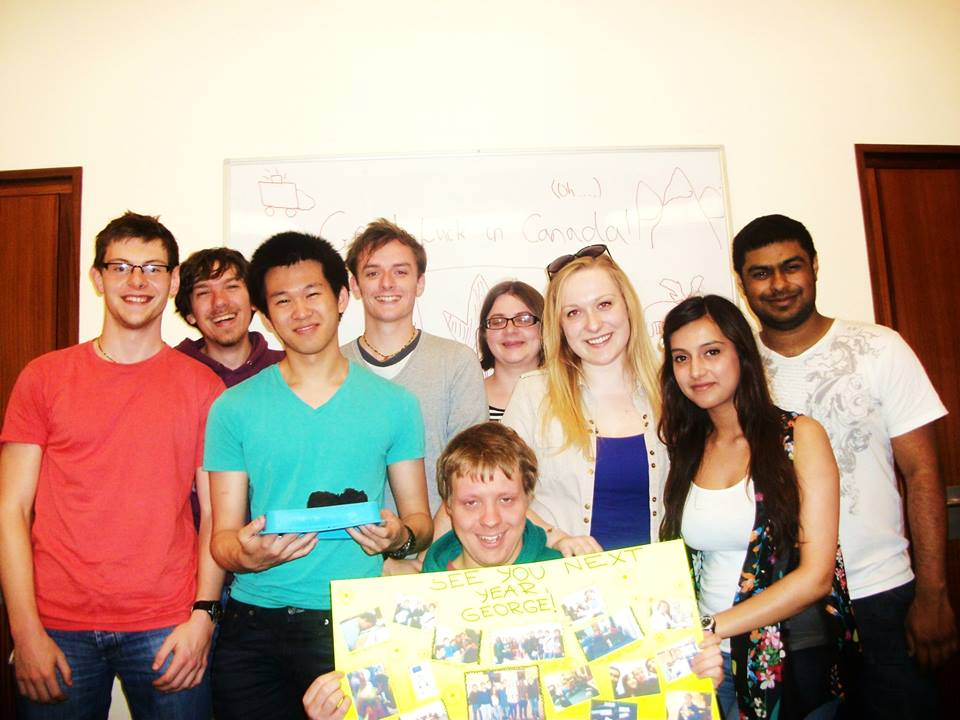 Sending off George in style before he left on the McMaster exchange program.