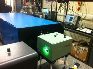 Two lasers are used in our setup, where one laser (the yag laser) powers the other (the dye laser).