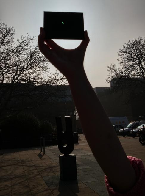 The partial solar eclipse seen through a laser filter.