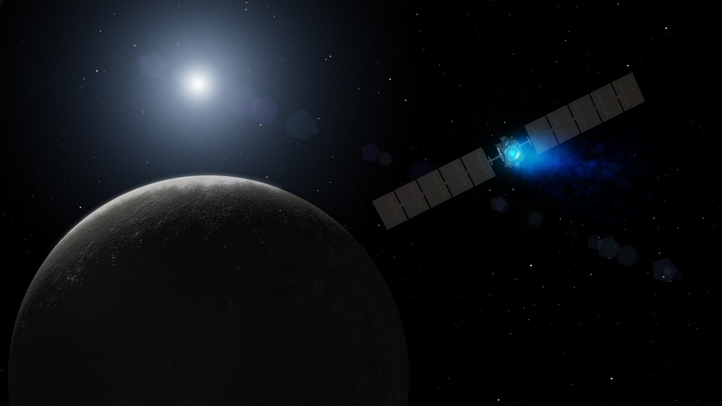 An artist's concept of NASA's dawn probe arriving at the dwarf planet Ceres, the largest body in the asteroid belt. With significant differences in composition to massive body also in the asteroid belt, studying it's surface could reveal much about how the solar system formed.