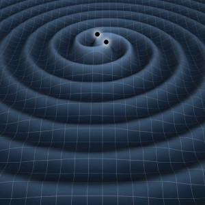 The illustration shows gravitational waves generated by two black holes orbiting each other. Credit: NASA