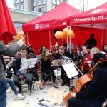 UoL Orchestra performs in the snow.