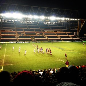 Team Leicester's amazing Men's Rugby Team playing at the Leicester Tiger's Stadium!
