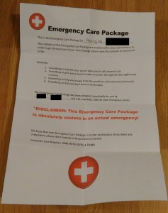 Emergency Care Package Instructions