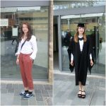 Outside Leicester Law School the day that I arrived and on my graduation day :)