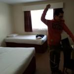 Gavin doing some last minute ironing!