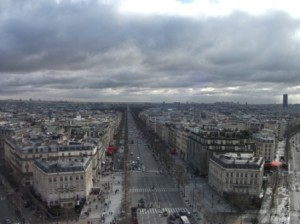 View of Parisian streets from the top of the Arc de Triomphe