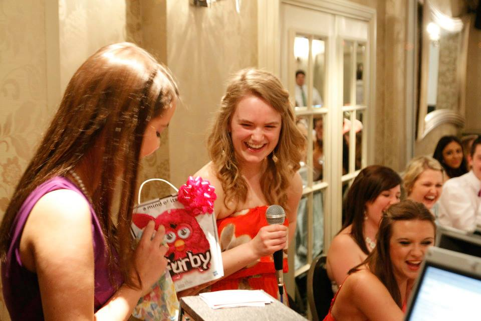 Me opening my present of a Pink Furby from the rest of the Committee!