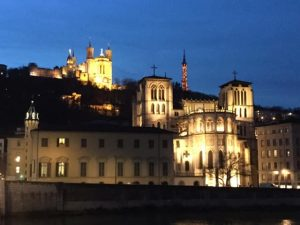 View of old lyon from the river at night