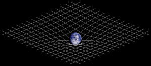 The curving of spacetime about Earth.