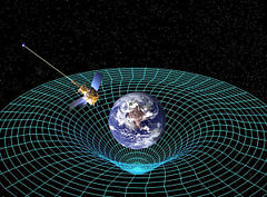 This is an image depicting the distortion of spacetime by Earth's gravity.