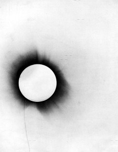One of the photos taken by Eddington of the 1919 solar eclipse.