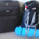 My huge suitcase and camping bag (I am actually going camping next weekend, hence the roll mat)