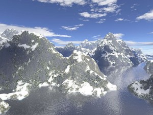 This mountain range is a fractal landscape. It has been created by a computer using the concepts of fractals.