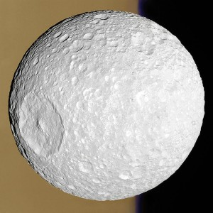 Mimas, one of Saturn's 62 confirmed moons.