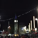 Excuse how blurry this is but here's the clock tower  lit up in blue