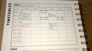 And this is what my timetable looks like!