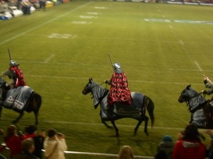 These were some of the horses and knights that game on the pitch before the Crusaders started the game - nothing like this back home!