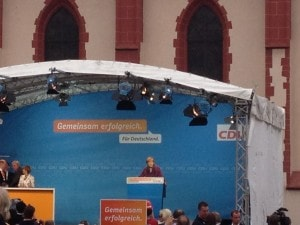 Merkel at a public rally