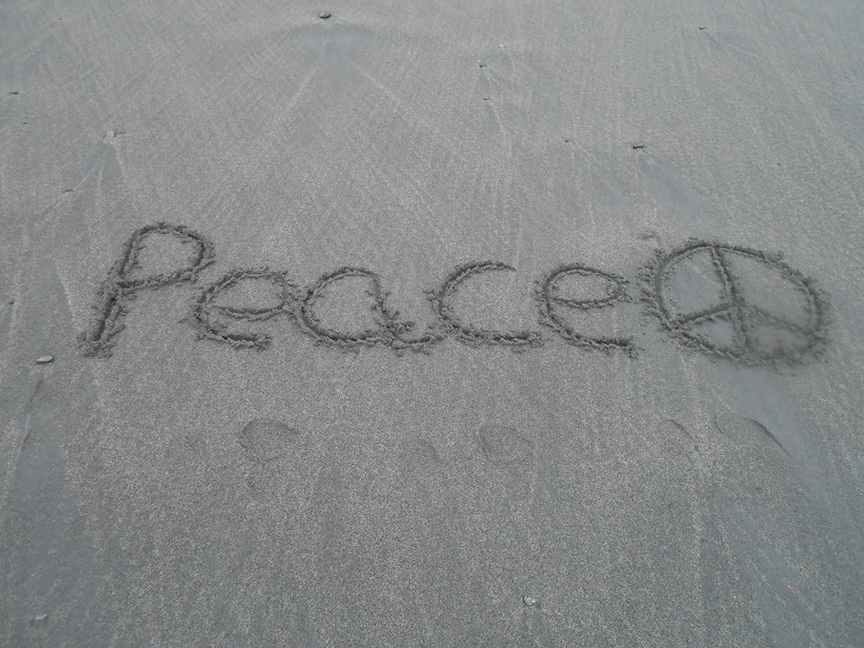 Peace? What else to write on the beach on world peace day!