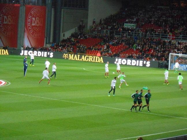 Denmark team warming up